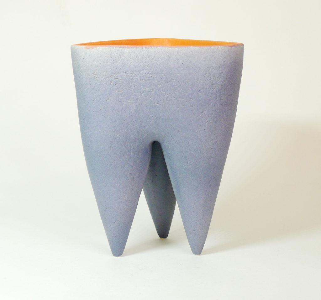 Deana Moore handbuilt Tripod Pot in Grey and Mango Glaze