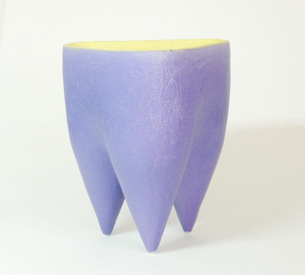 Deana Moore Tripod pot in Mazerine Blue and Yellow Glaze.