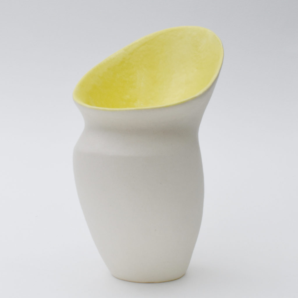 Deana Moore handmade Coiled Pot with Terri Sigillata and yellow glaze