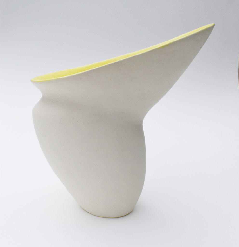 Deana Moore glazed pot in white and yellow