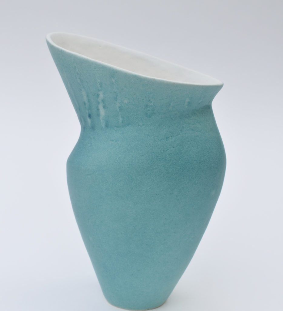 Deana Moore handmade coiled pot in turquoise and white