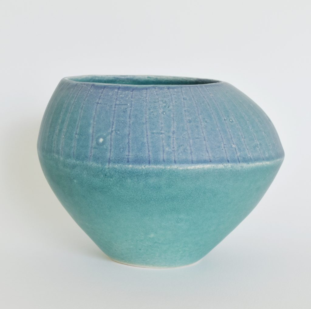 Deana Moore coiled vessel in Green and Blue Glaze