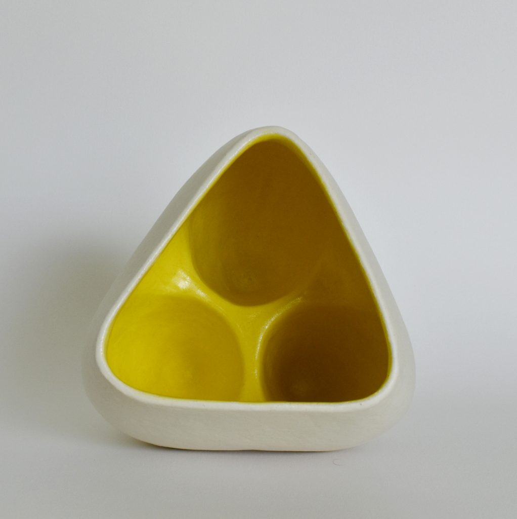Deana Moore Tripod vessel in White and Yellow Glaze