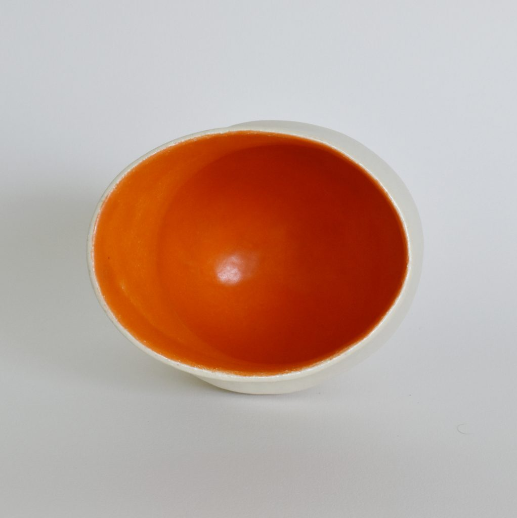 Deana Moore Coiled Vessel in White and Orange Glaze