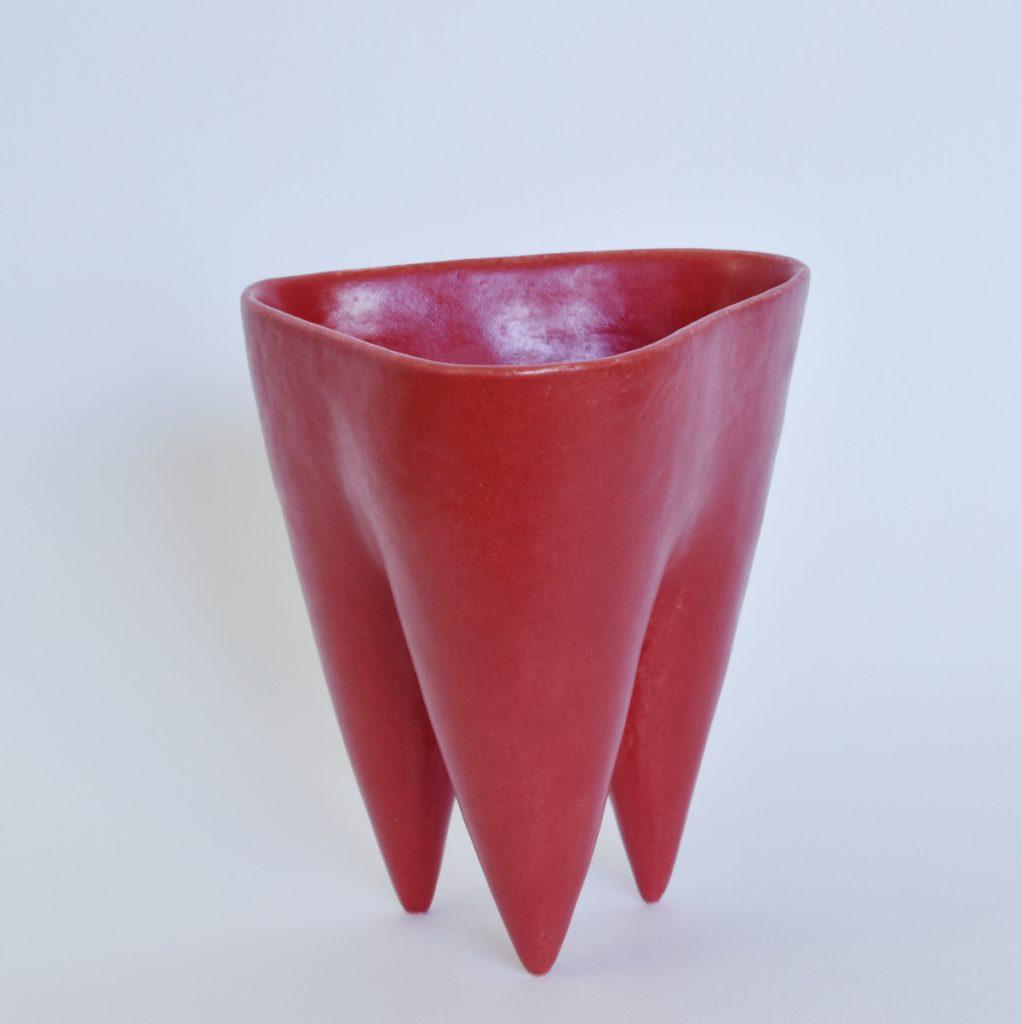 Deana Moore Tripod Vessel in red glaze.
