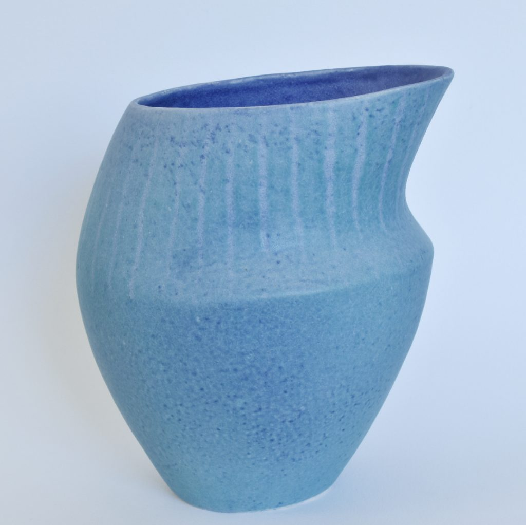Deana Moore coiled pot in blue and green glaze.