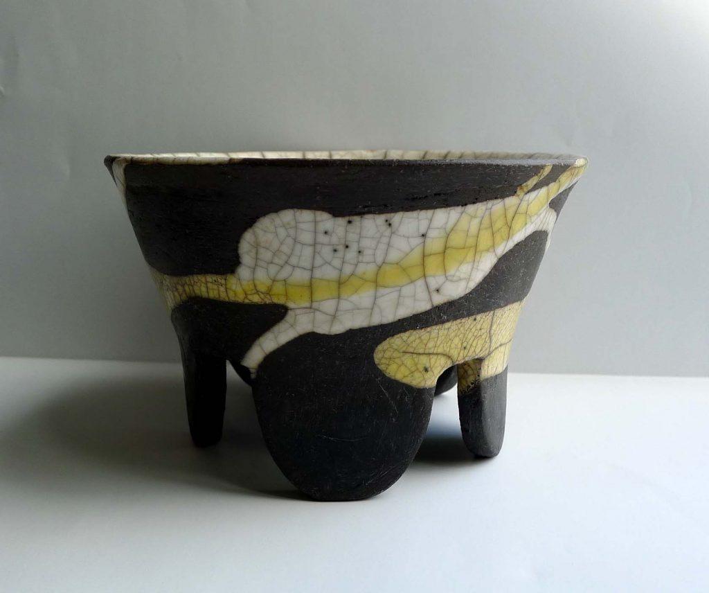 Raku pot in yellow and clear glaze