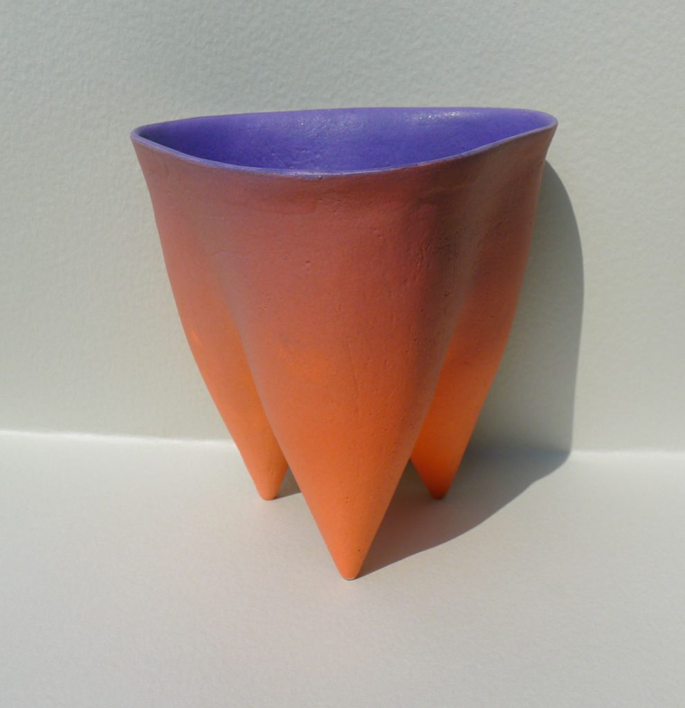 Tripod Pot with Flaired Rim in Mango and Purple